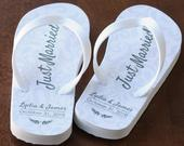 Just Married Flip Flops Personalized Printing Date and Name Ivory Rubber Soles
