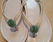 Circle monogram (two letter) flip flop buttons / pony tail holders. Personalized. Custom.