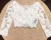 Lace button back jacket 3/4 sleeve
