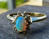 Opal Ring 14k Opal Engagement Ring Gold Opal Diamond Engagement Ring 14k Yellow Gold Ladies Rings Vintage Jewelry