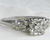 Deco Engagement Ring 14K Old Cut Diamond White Gold Vintage Diamond Ring 1940s 14K White Gold Engagement Ring Anniversary Gift Wife