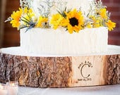 12 STUMP Rustic Wood Tree Slice Wedding Cake Base, Wooden Slab Stand, Perfect Engagement Gift, Beautiful Raw Bark, Made in Colorado