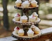 Wood slice cupcake stand rustic woodland theme baby shower cupcake stand dessert table decor woodland baby shower decorations