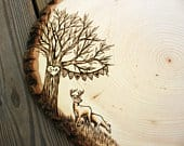 Deer Banner Design: Wood slice rustic theme wedding guest books. Personalized