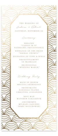 Art Deco Foil-Pressed Wedding Programs