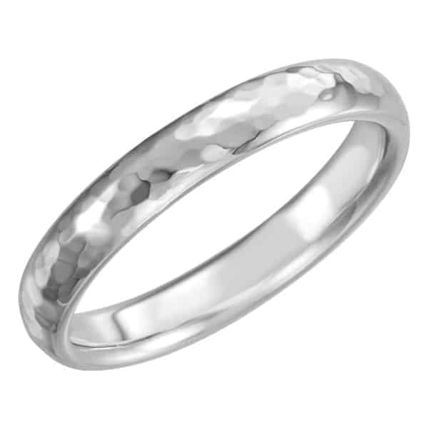 4mm Platinum Hammered Comfort-Fit Wedding Band Ring