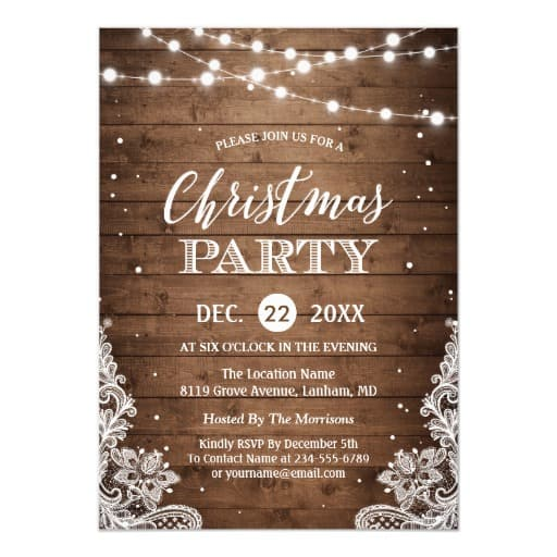 Christmas Party Rustic Wood Twinkle Lights Lace Invitation