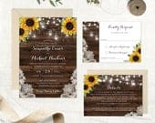 Rustic Sunflower Wedding Invitation. Printable Invitation. Lace Floral Mason Jars Wood Invitation. String Lights. Wood Country Barn Invite