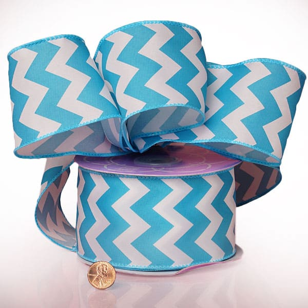 """2 1/2"""" X 20 Yards Polyester Sky Blue Chevron Satin Wired Ribbon by Ribbons.com"""