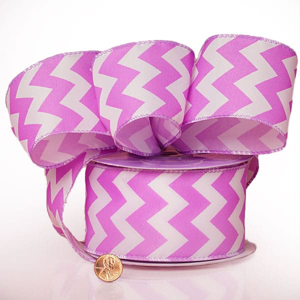 """2 1/2"""" X 20 Yards Polyester Lavender Chevron Satin Wired Ribbon by Ribbons.com"""
