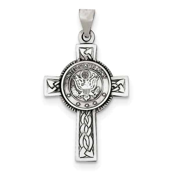 US Army Cross Pendant in Sterling Silver