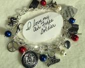 FREE Ship! Air Force Bracelet.Air Force Charm Bracelet. Charm Bracelet. Soldier. Soldier Love. Patriotic