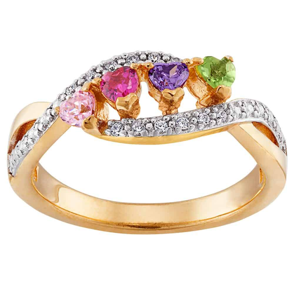 Mother's Gold Over Silver Family Heart Birthstone Ring with CZ