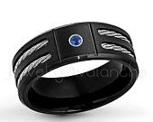 0.07ct Mens Blue Sapphire Ring, September Birthstone Ring, Black IP Brushed Finish Mens Titanium Ring, Double Cable Mens Ring TM5531SP