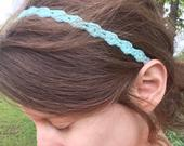 Soft Ouchless 3/8 Crocheted Headband Cotton Lace Fabric Gift and Wedding Idea Hair Necklace (with or without elastic)
