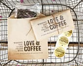 Love and Coffee Whole Bean Wedding Favor Bags Thank You Gift Mr Mrs Budget Coffee Favors 20 Kraft brown Bags