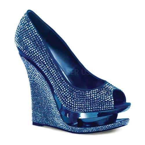 Women's Pleaser Day & Night Razzle 660RS, Size: 8 M, Blue Satin