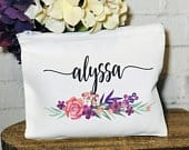 Personalized cosmetic bag, make up bag with name, personalized bridesmaid gift, makeup bag, Personsalized makeup bag, Bridesmaid gift, set