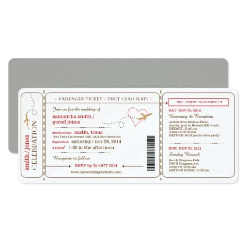 Boarding Pass Ticket Wedding Invitation