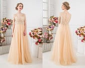 Custom Made Champagne Dress Peach Lace Wedding Gown Any Color Wedding Gown Ivory Dress Bridal Separates Tulle Skirt Unique Sexy Bridal Dress
