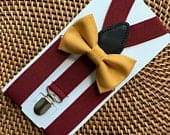 Mustard Bow Tie Burgundy Suspenders, Mustard Bow Tie, Wedding Suspenders, Ring Bearer Outfit, Mens Suspenders, Groomsmen Suspenders