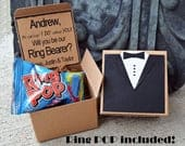 Ring POP Will You Be My Ring Bearer TUX Boxed Invite Time To Suit Up Rustic POP the Question Tuxedo Bow Tie