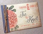 Hibiscus Wedding Invitation, Vintage Floral Wedding Invitation, Tie the Knot Wedding Invite, Rustic wedding invitation
