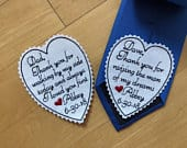 Set of 2 tie patches, Father of the Bride / Groom Gift from Bride, Personalized Embroidered Heart Patch, Thank you for walking by my side,