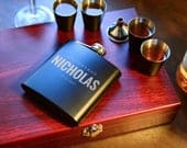 Personalize Groomsman Flask Gift Set in Wooden Box Wedding Party Flask Best Man Flask Groomsmen Classy Gift Bachelor Party Gift
