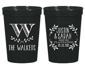 Floral Monogram Cups, Wedding Favor, Personalized Plastic Cups, Party Cups, Wedding Cups, Custom Plastic Cups, Monogrammed Cups, 1055