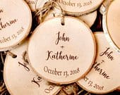 Personalized Christmas ornaments, wood slice Christmas ornaments, rustic wedding favors, holiday wedding favors, personalized wedding favors
