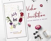 Burgundy Gold Floral Wedding Invitation Video, Save the Date, WhatsApp Wedding Invitation, Electronic Invitations, Marriage Invitations