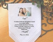 Father of the Bride, custom PRINTED wedding handkerchief with PHOTO option, a father holds his daughter, Dad Gift, Personalized. MS2FCHA55