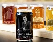Beer Can Glass, Groomsmen Gifts, Best Groomsmen Gifts, Custom Photo Glass, Personalized Glasses, Custom Etched Glass, Cool Groomsmen Gifts