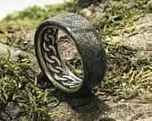 Sterling Silver Ring with Buckeye Burl Wood Alternative Wedding Band for Men or Women