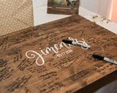 Sale!!! Alternative Guest Book Board // Guest Sign In // Wedding Wood Decor // Ceremony Guest Board // Last Name and Date // Calligraphy