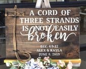 A Cord of Three Strands is Not Easily Broken Sign Wedding Ceremony Unity Cross Unity Ceremony Ideas Gods Knot Braids for Unity