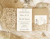 Champagne Gold and Ivory Shimmer Laser Cut Wedding Invitation. Laser cut. Quince. Fall Wedding. Gold and Ivory. Mellifluous Design