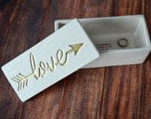 Gift for Wife, Gift to Bride from Groom, Bride to Be Gift Love Box Love in Gold or Silver SHIPS FAST Ceramic Wood Grain Keepsake Box