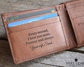 Gift for Groom from Bride on Wedding Day Husband Wedding Gift, Personalized Leather Bifold Wallet Mens Custom Engraved Slim Brown Wallets