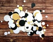 Gold mix confetti wedding decor, handmade black and white paper scatter, engagement party bridal shower decorations, birthday table sprinkle