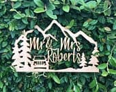 Custom Mr and Mrs Last Name The Great Outdoors Jeep Wedding Grooms Bride Natural Raw Wood Cake Topper