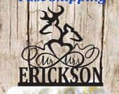 Buck and Doe Heart and Infinity Silhouette Mr And Mrs Surname Wedding Cake Topper CTG010 Made In USA