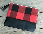 Cosmetic Bag/RED and BLACK Buffalo Check Cosmetic or Accessory Pouch/Bridesmaid Gift/Graduation Gift