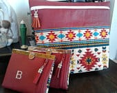 Great Gift Set! Elegant Practical Womens Wallet with Cosmetic Bag Aztec Print Fabric
