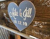 Heart Wedding Guest Book Alternative Wood Guestbook Wedding Gift for Couple Rustic Wedding Sign