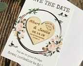 Save The Date, Wood Save The Date Magnet with Cards, Save the date heart, Personalized Save The Date, Wedding Invitation, Wedding Cards