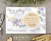 Purple Save the Date Magnet, Wood Save the Date Magnet, Floral Save the Date Magnet, Custom Save the Date Magnet, Rustic Save the Date