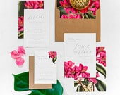 Tropical Wedding Invitation, Bougainvillea Flower, Tropical Invitation, Destination wedding, Beach Wedding, Azalea Flower