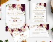 Burgundy Wedding invitation template Floral Wedding invitation Printable Gold wedding invites set Custom Wedding invitations marsala sd18b